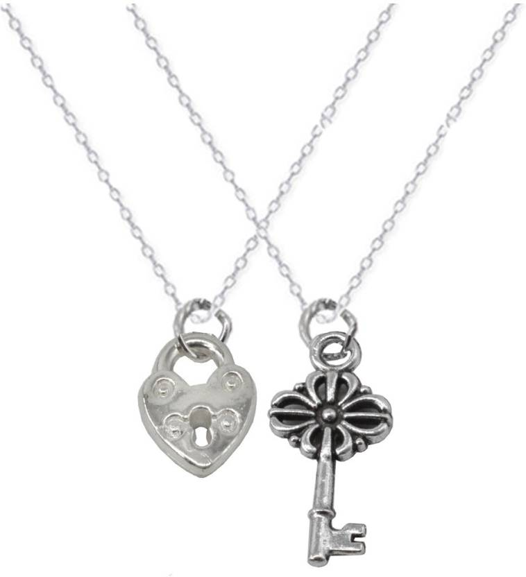 Sullery 2 Best Friend Lock And Key Matching Couple Locket