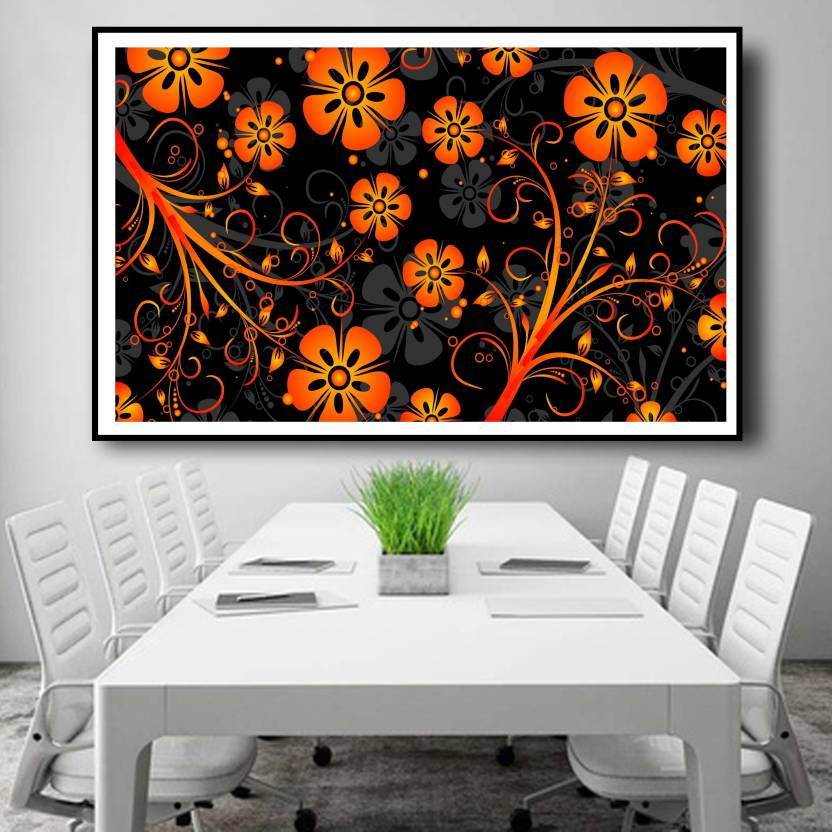 Animated Orange Color Flower Wall Decor Poster For Living Room No