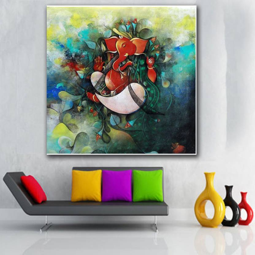Wallpaper Of Lord Ganesha Painting Wall Decor Poster For Living Room