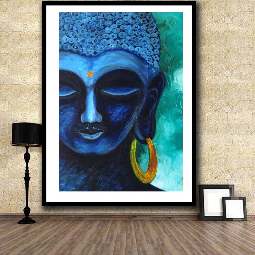 Blue Color Printed Buddha Wall Decor Poster For Living Room No Framed Large Painting On Canvas Art Picture Home Decoration