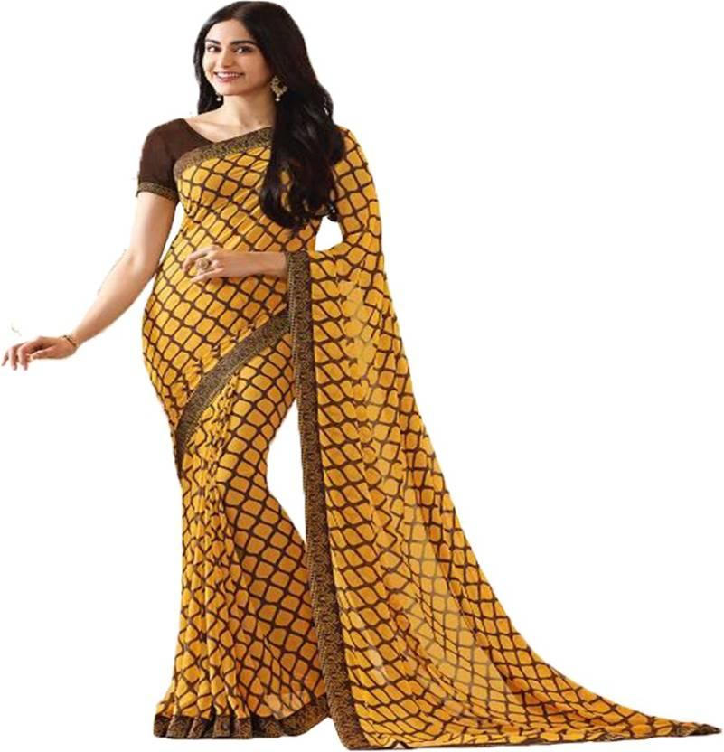 99eadf69e73b7 Buy JK Creation Printed Fashion Georgette Yellow Sarees Online ...