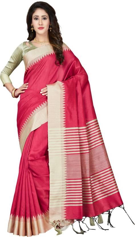 77101819cd Buy Saree Swarg Woven Banarasi Art Silk Pink Sarees Online @ Best ...
