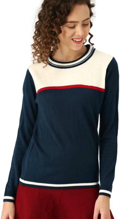 5f7a6d96342 Dressberry Solid Round Neck Casual Women Blue