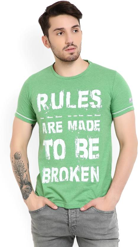 Duke Printed Men's Round Neck Green T-Shirt