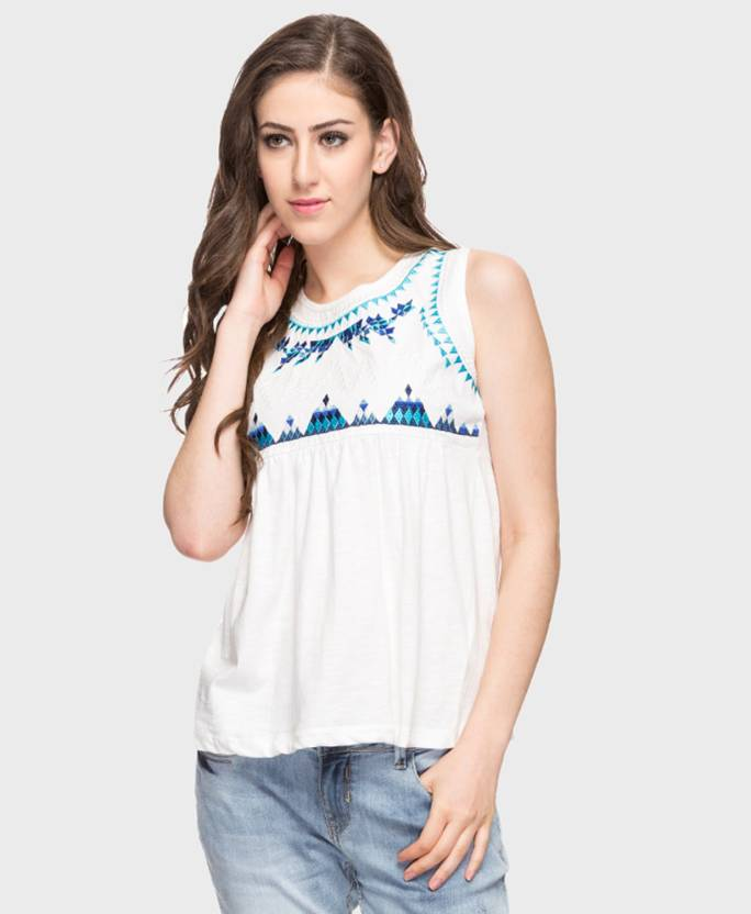 2b7c198324a DJ  C by FBB Casual Sleeveless Solid Women s White Top - Buy DJ  C by FBB  Casual Sleeveless Solid Women s White Top Online at Best Prices in India ...