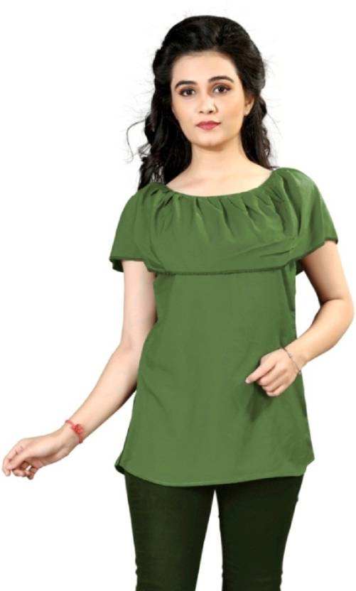 41cf0d8aa1 New Ethnic 4 You Casual Butterfly Sleeve Solid Women s Green Top - Buy New  Ethnic 4 You Casual Butterfly Sleeve Solid Women s Green Top Online at Best  ...