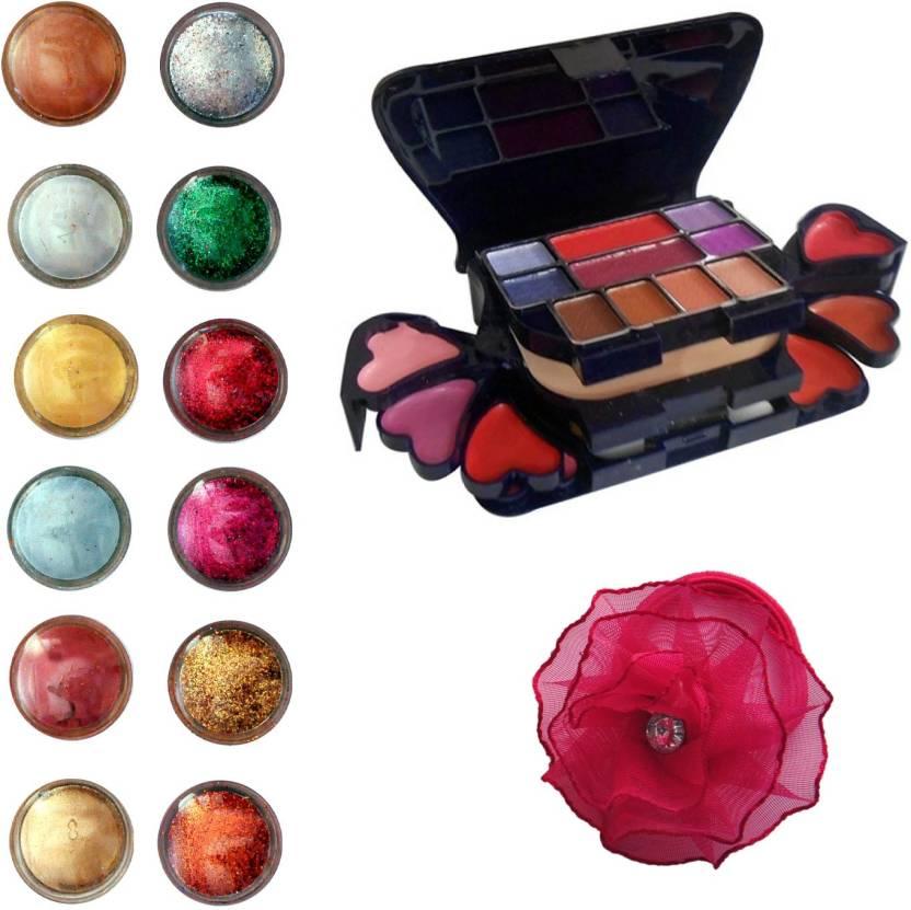 Vozwa Eye Face Shimmer Powder and Glitter Powder, Makeup Kit (8 Eyeshadow, 1 Powder Cake, 8 Lip Colour, 2 Blusher) and Band pack of 14 (Set of 14)