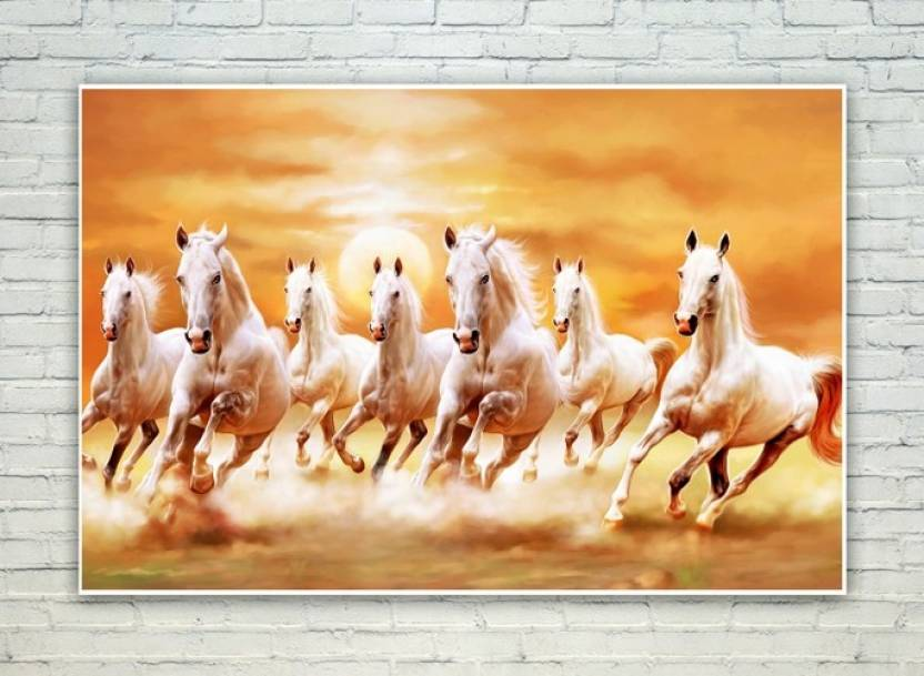 Posterskart Seven Horses Running Scenery Wall Painting Poster Paper Print
