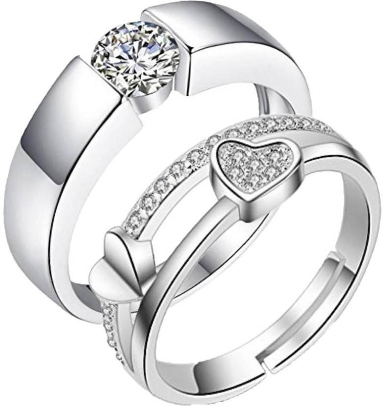 07583a6d9 MYKI King & Queen Valentine Adjustable Couple Rings Sterling Silver  Swarovski Zirconia 24K White Gold Plated Ring Set Price in India - Buy MYKI  King & Queen ...