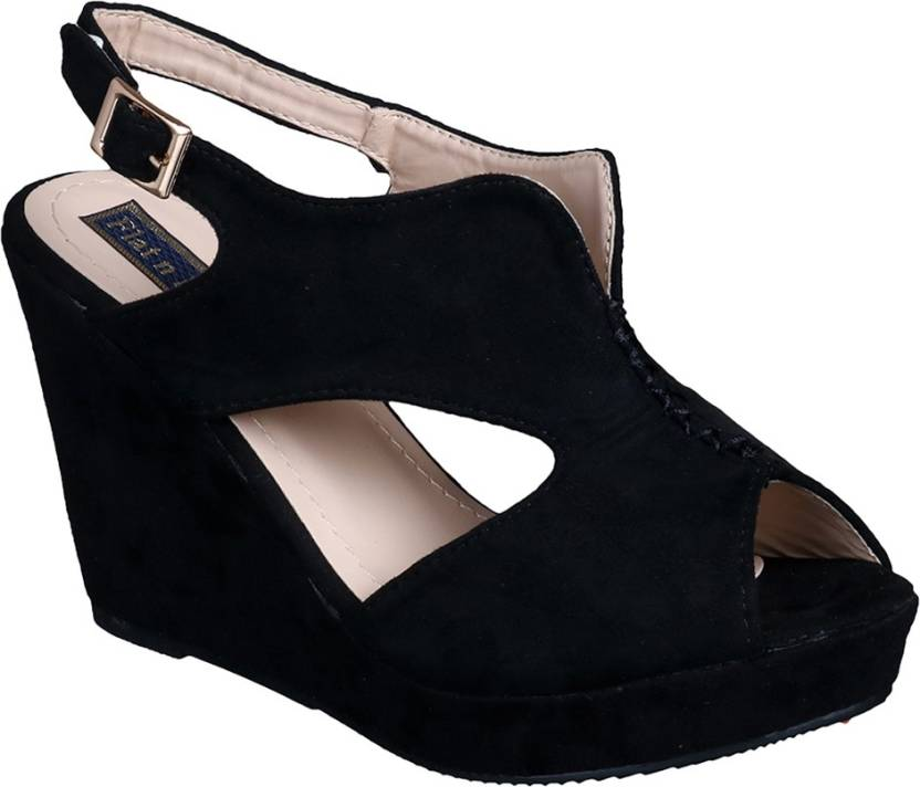 2ea72e57890 Flat n Heels Women Black Wedges - Buy Flat n Heels Women Black ...