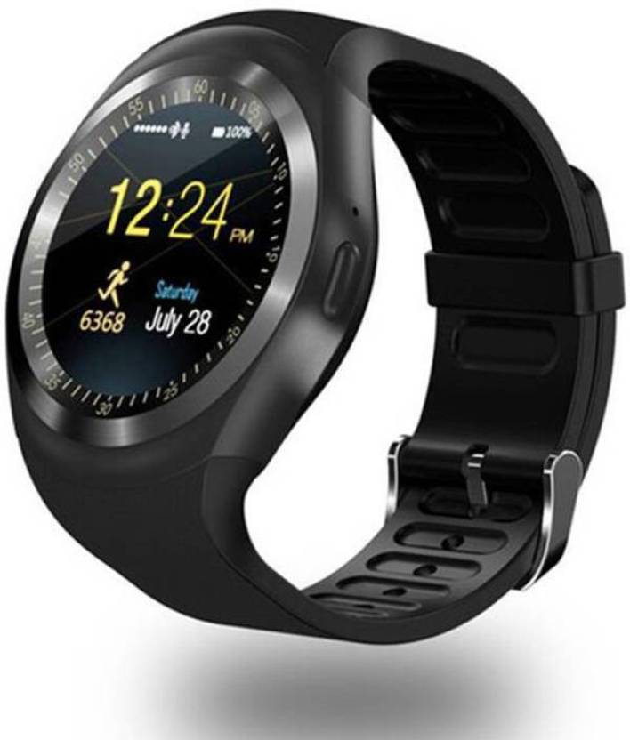 9f7170b80bb Pop 4G Calling Smart Mobile Y1 watch Compatible With Android   Ios  Smartwatch (Black Strap Regular)
