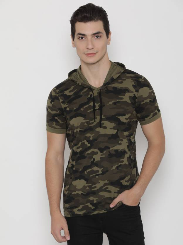 Inkovy Military Camouflage Men s Hooded Green T-Shirt - Buy Inkovy Military  Camouflage Men s Hooded Green T-Shirt Online at Best Prices in India  9aa34eb8494