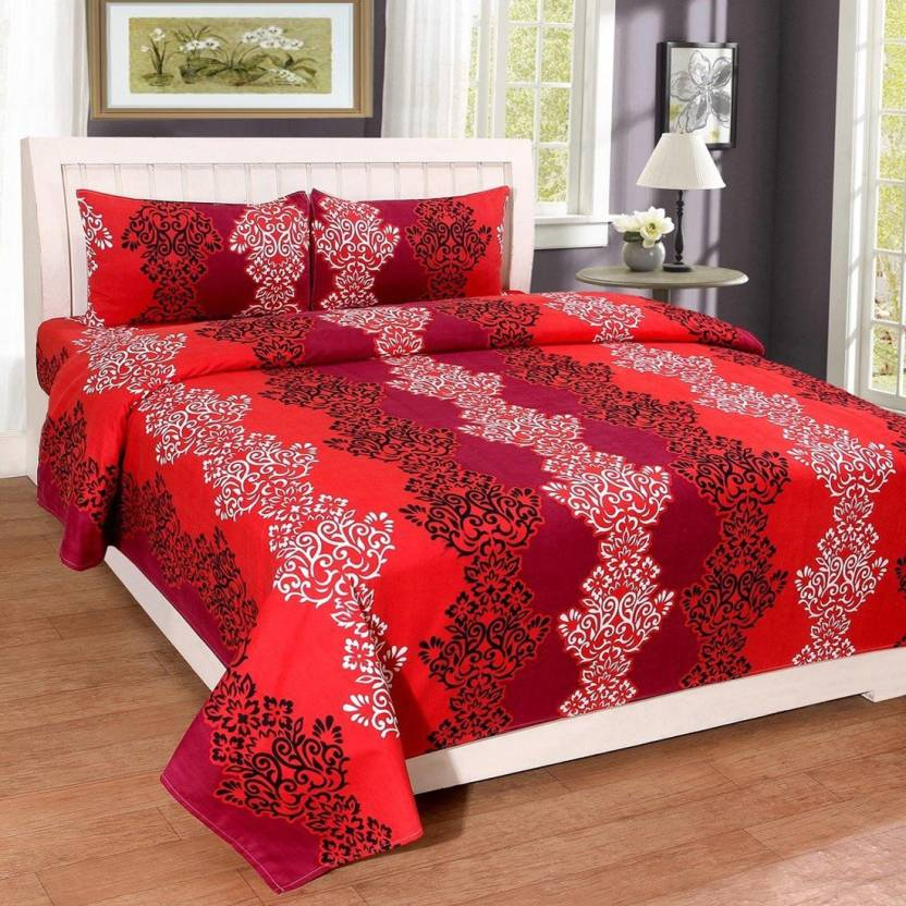 6795127043 TrueValue Creations 180 TC Polycotton Double 3D Printed Bedsheet (Pack of  1, Multicolor)
