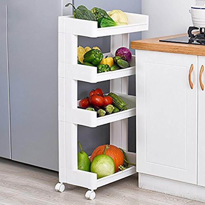 3 Tier Fruit Vegetable Rack Storage Stand White Kitchen