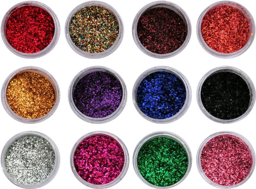 Vozwa Colourful Sparkles Nail Art Glitter Powder 12 Pcs Multicolor
