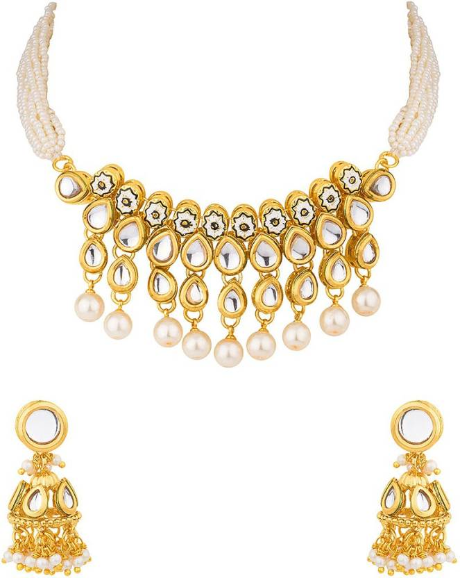 94979a3a1509f Voylla Pearl Gold-plated Plated Brass Necklace Set Price in India ...