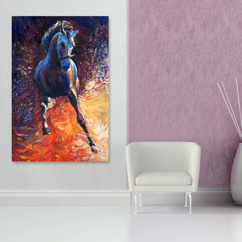 Inephos Unframed Canvas Painting - Beautiful Horse Art Vastu