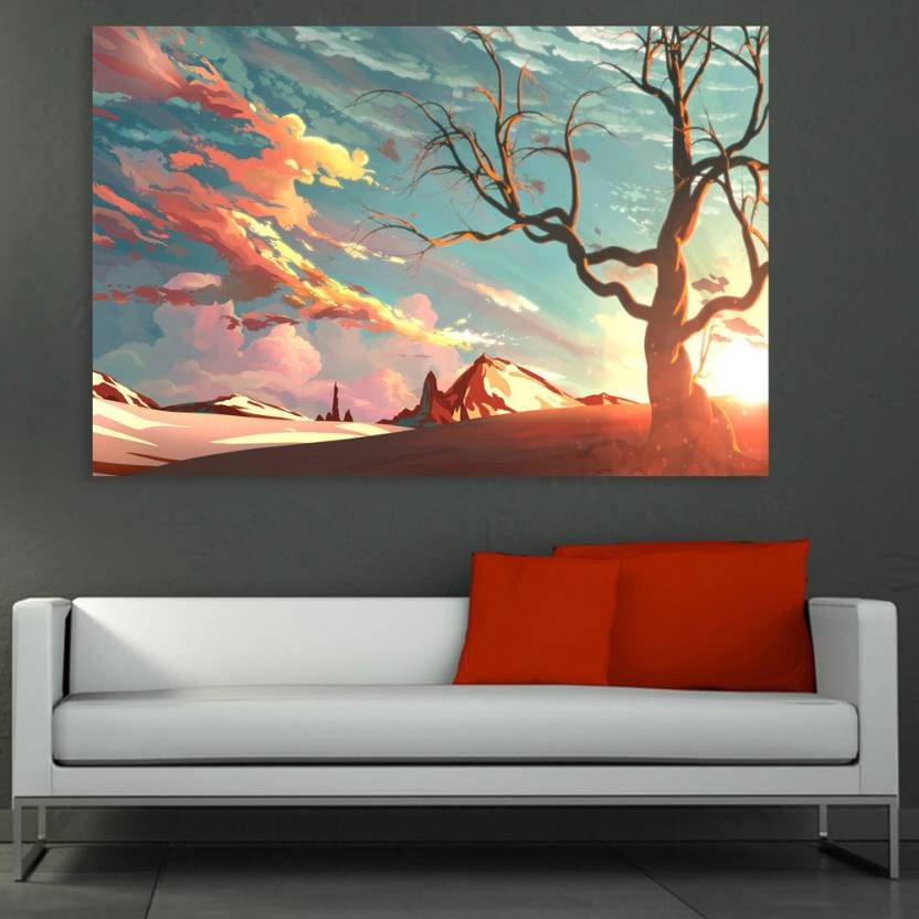 Inephos Unframed Canvas Painting Beautiful Nature Modern