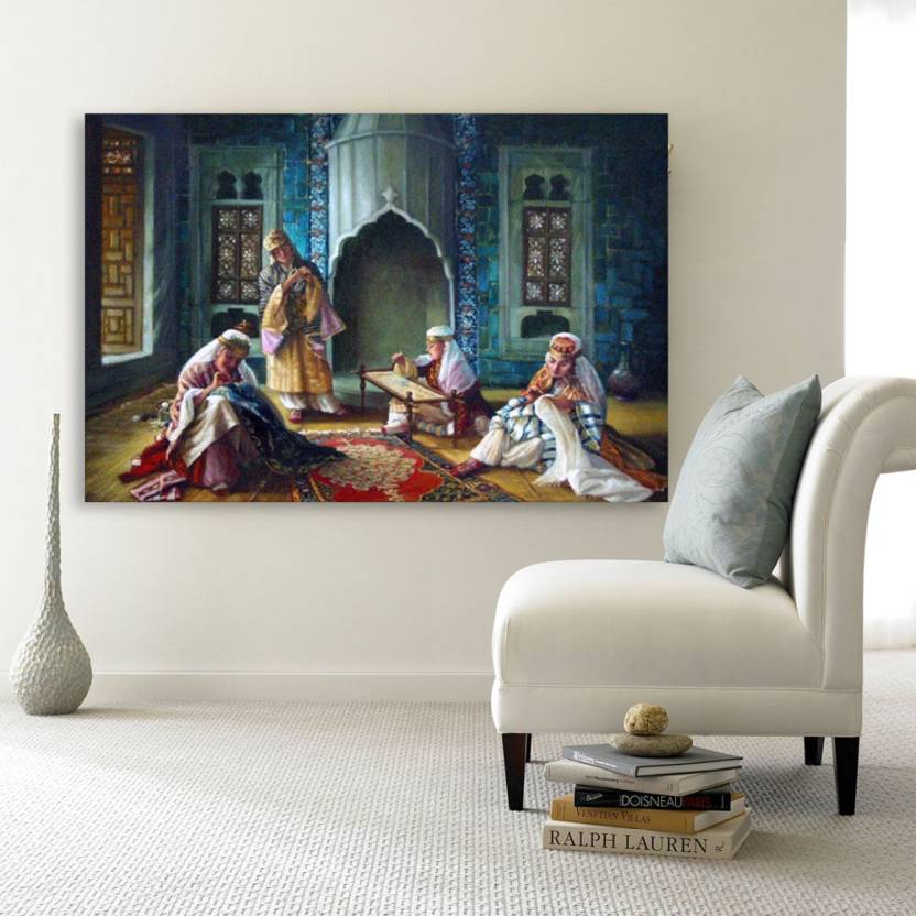 Inephos Unframed Canvas Painting - Beautiful Women Weaving Art Wall  Painting for Living Room 672c047693
