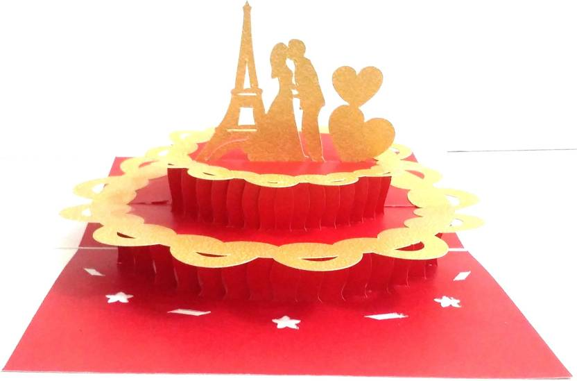 KONKAN MART 3D PopUp Eiffel Tower Cake Love Anniversary Card Handmade Best Gift Husband Wife
