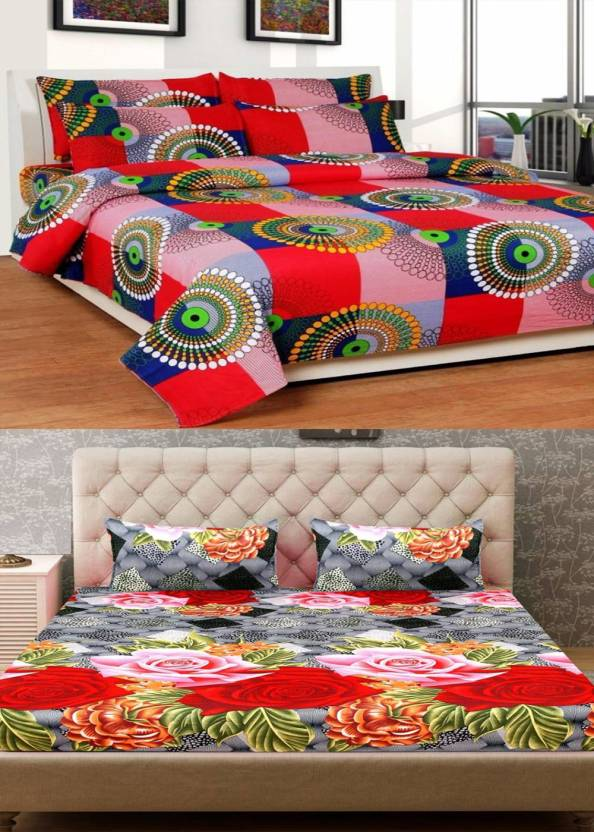 37085499c9 Home Pictures 144 TC Cotton Double 3D Printed Bedsheet (Pack of 2,  Multicolor)