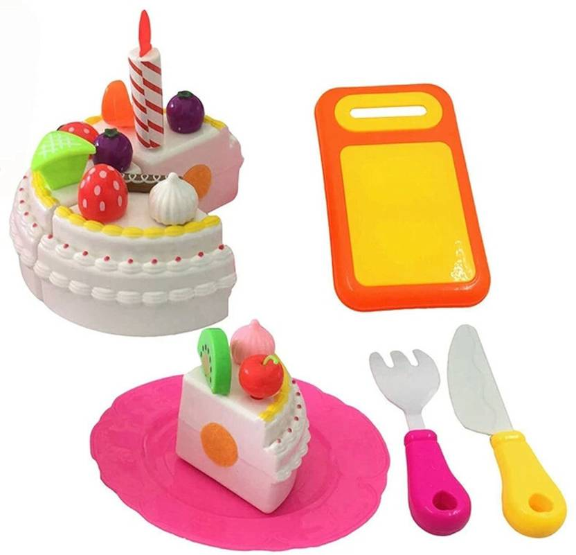 RVOLD Fast Food Toy Cake And Cutting Fruits Pretend Play Set With