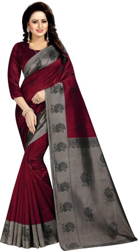 06d1c2aac Buy HITESH ENTERPRISE Printed Mysore Art Silk Red Sarees Online ...