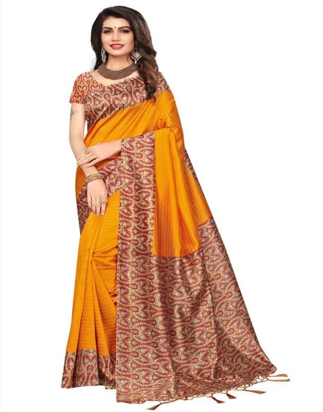 803f6f5d2 Buy HITESH ENTERPRISE Printed Mysore Art Silk Multicolor Sarees ...
