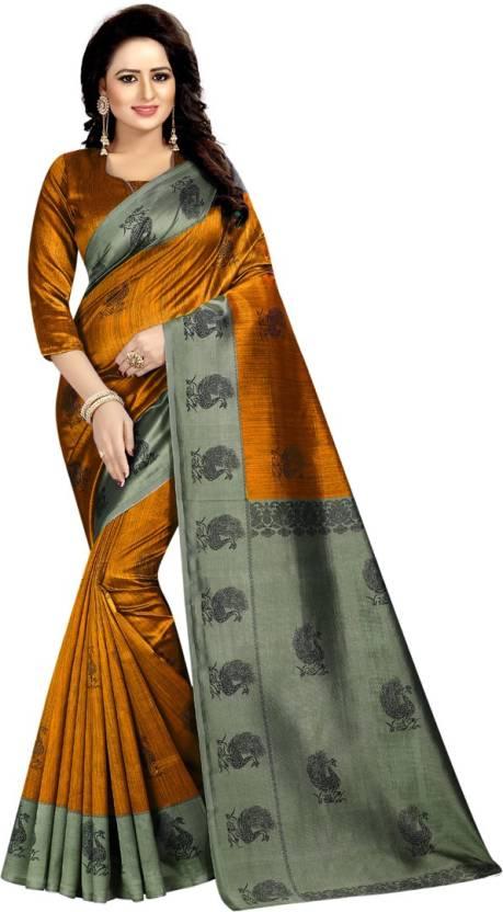 80f9ae10e Buy V J Fashion Printed Mysore Art Silk Multicolor Sarees Online ...