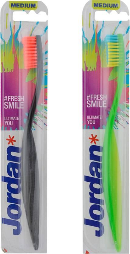 low priced 142ec 63749 Jordan Ultimate You Toothbrush Medium Bristles Latest Design BPA Free  Imported Brush gentle to Teeth   Gems. Made in Malaysia (Random Color) Pack  of 2 (Pack ...
