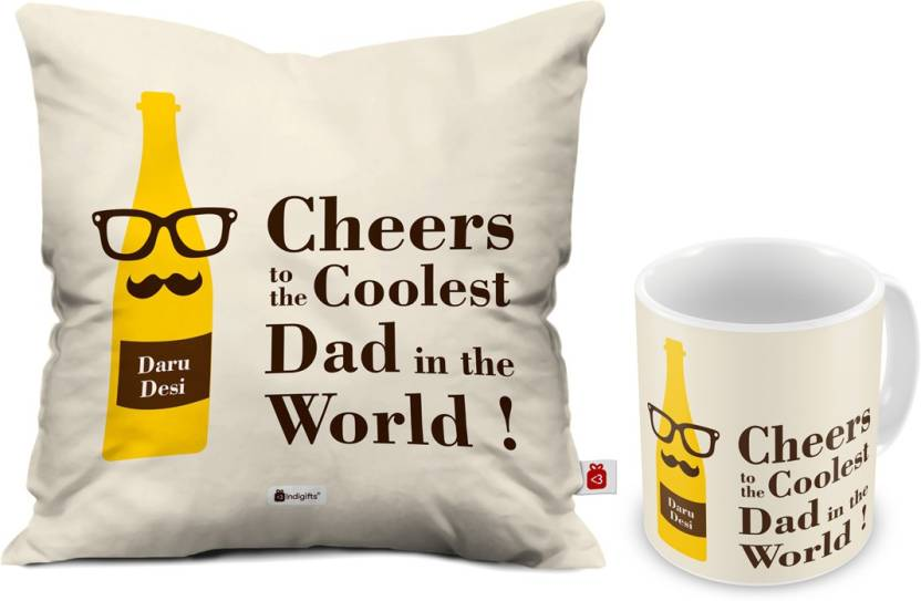 Indigifts Fathers Birthday Gift For Papa Dad Gifts Parents Anniversary Mom Coolest Quote Cushion Mug Set Price In