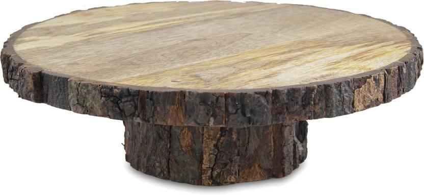 Homesake 12 Inch Round Wooden Slab Cake And Dessert Pedestal Display