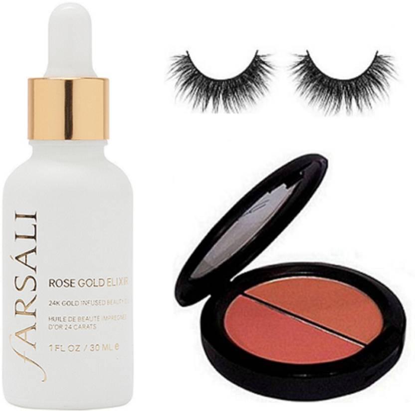 studio Eyelashes&Mac 2 Shade Blusher Compact & Farsali Rose Gold Elixir