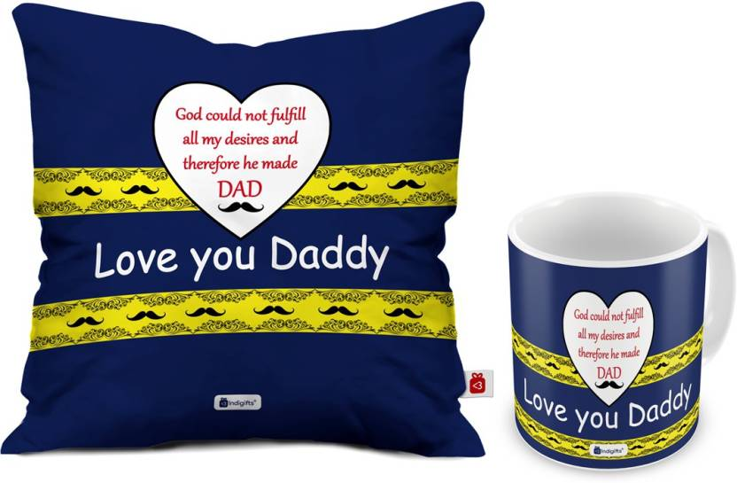 Indigifts Fathers Birthday Gift For Papa Day Gifts Dad Anniversary Mom Love You Daddy Quote Cushion Mug Set Price