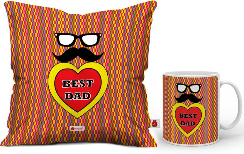 Indigifts Fathers Birthday Gift For Papa Dad Gifts Parents Anniversary Mom Best Quote Cushion Mug Set Price In