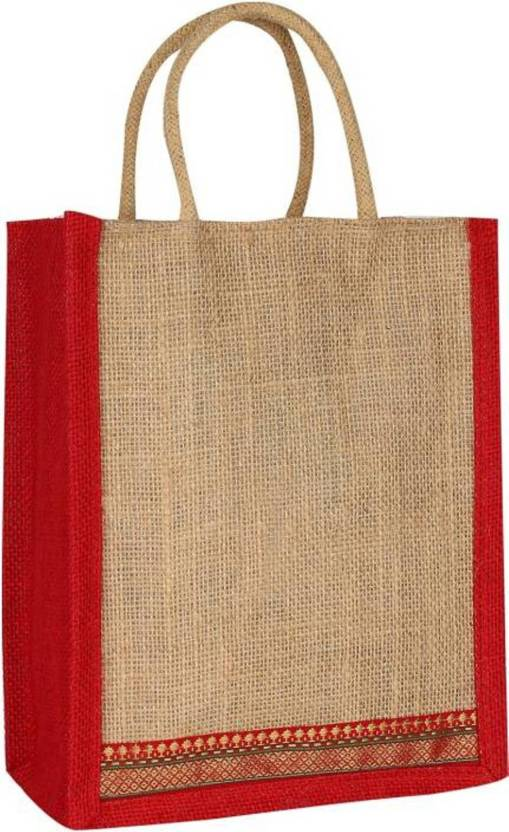 7fe68851e INDOGIFTS Pack of 2 Multipurpose Jute Bag plan Color design Premium Quality  Size 14 x 12 x4 INCH in two color and bright designs Lunch Bag (Multicolor