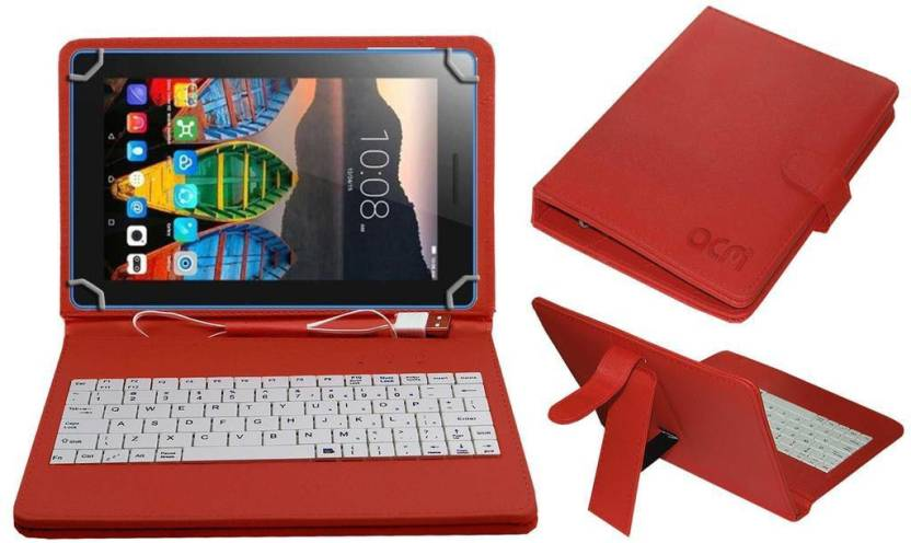 ACM Keyboard Case for Lenovo TAB 3 ESSENTIAL 710I 7 inch Red, Cases with Holder