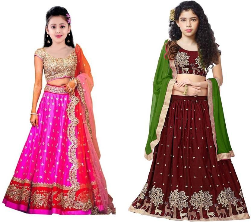 8a53c140a MF Retail Girl's Lehenga Choli Ethnic Wear Embroidered Lehenga, Choli and  Dupatta Set (Multicolor, Pack of 2)