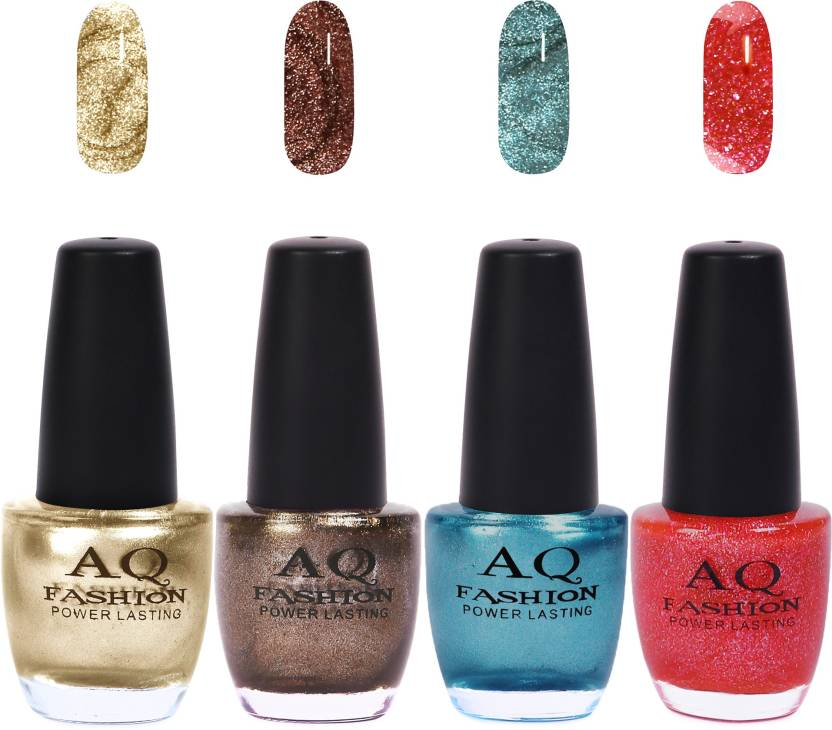 4693d155a8dad0 AQ Fashion Funky Vibrant Range of Colors Nail polish Lemony Shimmer,Coco  Shimmer,Turquoise,Fusion Pink (Pack of 4)
