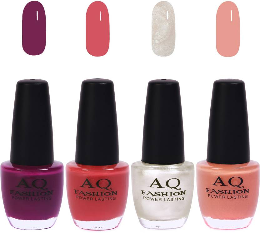 Aq Fashion Funky Vibrant Range Of Colors Nail Polish Plum Sandwich Brown Pearl White