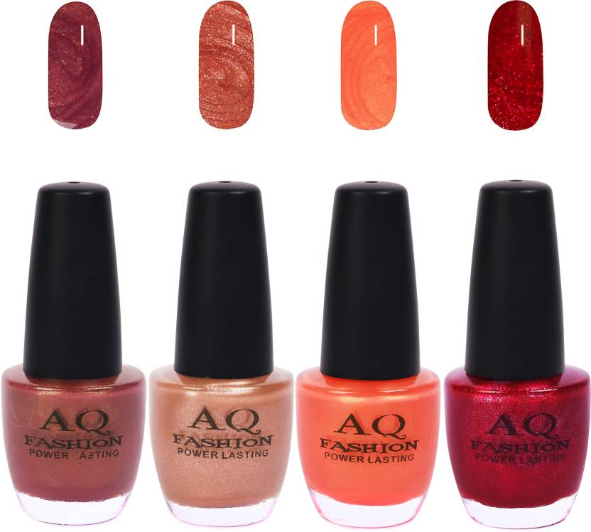 Aq Fashion Funky Vibrant Range Of Colors Nail Polish Shimmer Wine Pearl Nude Pearl Orange Shimmer Violet Red