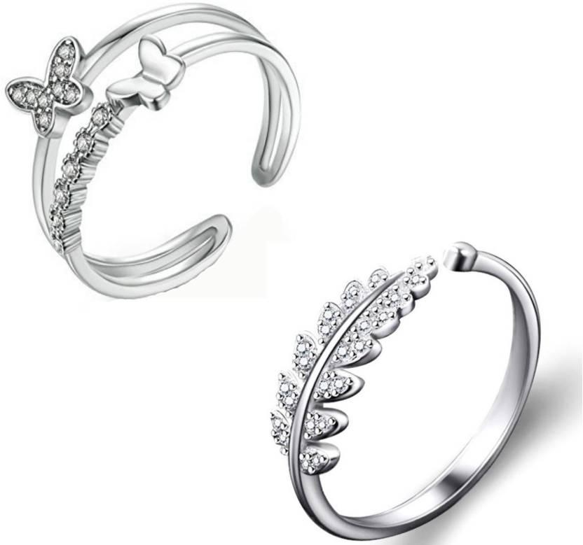 be8f573cbd2cc1 MYKI Beautiful Wedding Combos Zircon Rings For Women   Girls Sterling  Silver Swarovski Zirconia 24K White Gold Plated Ring Set Price in India -  Buy MYKI ...
