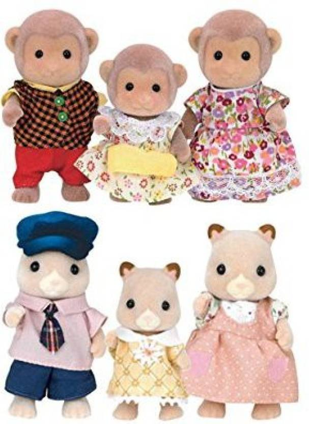 Calico Critters Fluffy Hamster Family With Mango Monkey Family Play