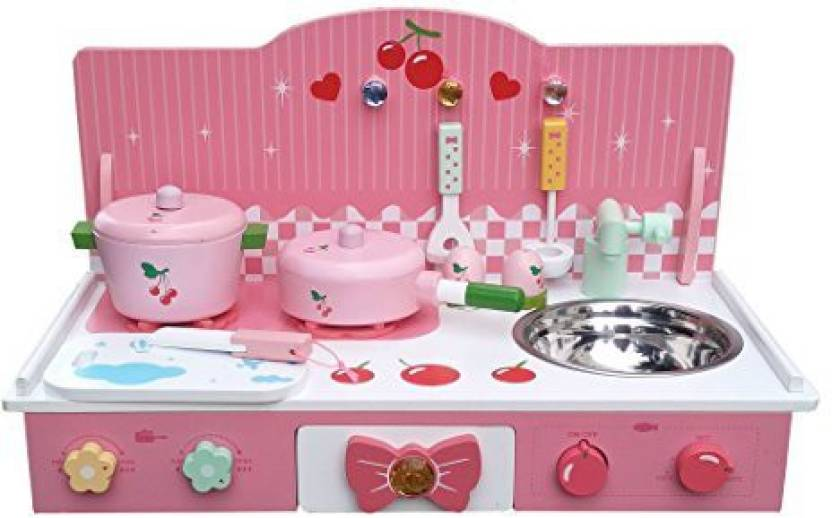 f5fe422ee7579 Oye Hoye Classic Wooden Kitchen Toy Pretend Cooking Kids Children Role Play  Set With Accessories By - Pink