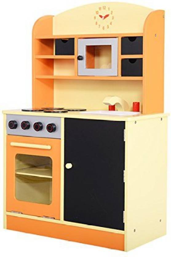 Costzon Wood Kitchen Toy Kids Cooking Pretend Play Set Toddler