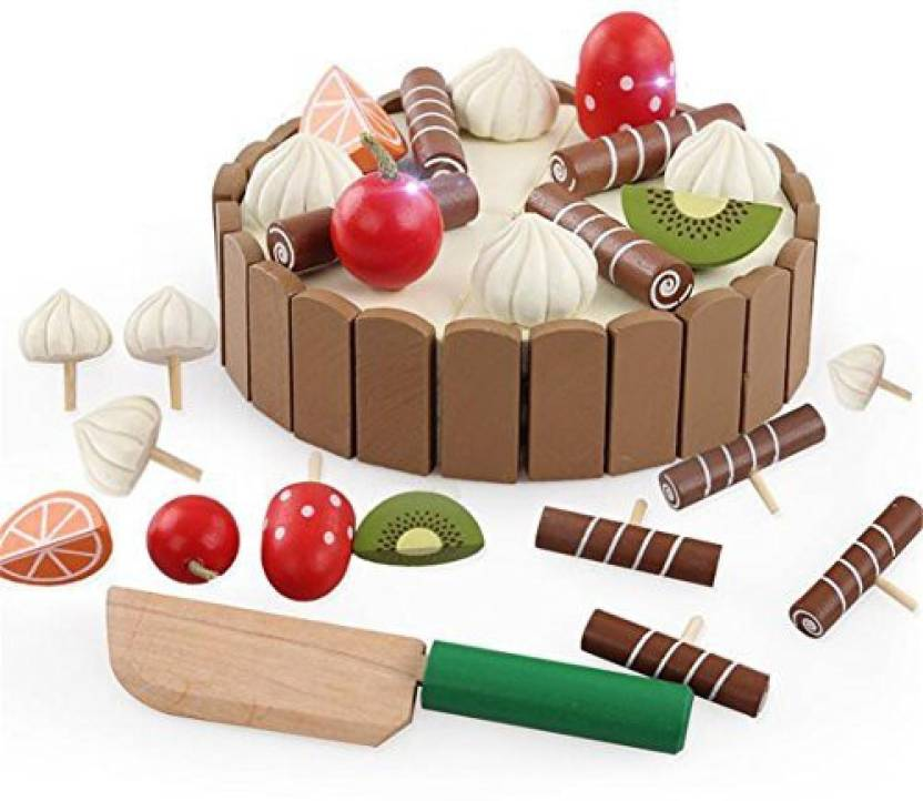 Generic Gzq Birthday Cake Toy Wooden Magical Mini Pretend Play With Candles And Knife Cutting