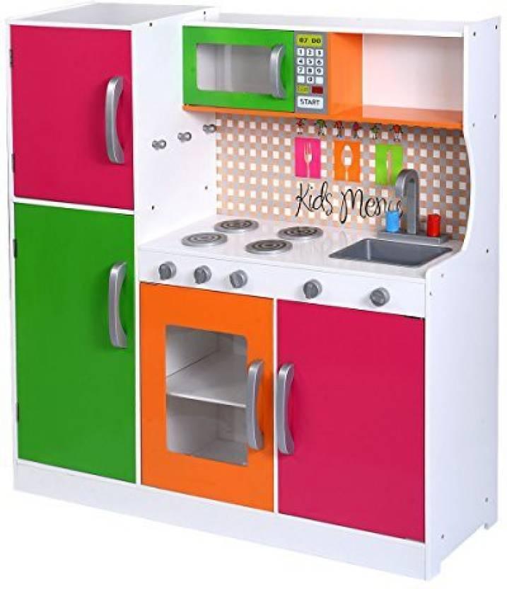 Costzon Wood Kitchen Toy Kids Cooking Pretend Play Set ...