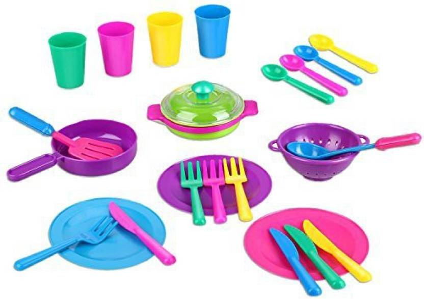 Peradix Toys Dishes Play Kitchen Accessories Set Pots And Pans Cups
