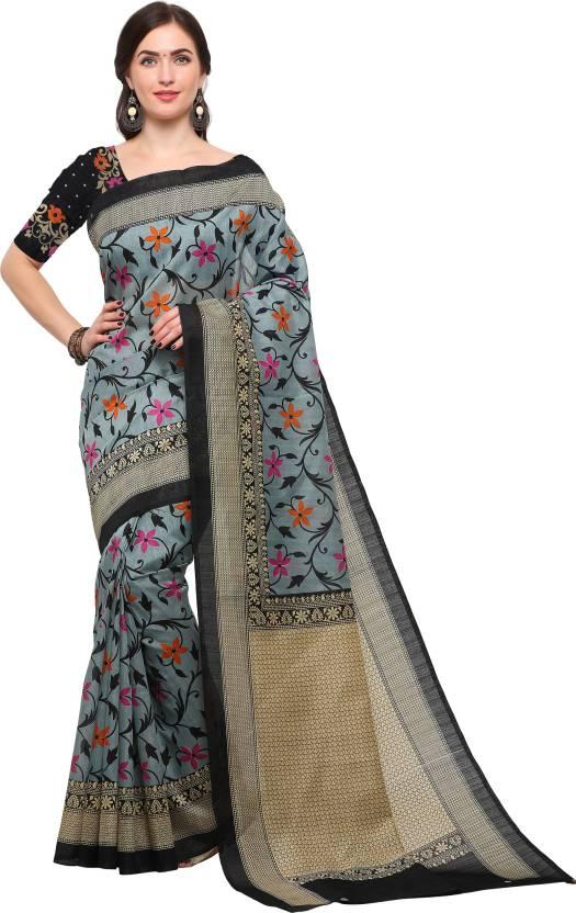 530ce80cab Buy Blissta Printed Bhagalpuri Silk Grey Sarees Online @ Best Price ...
