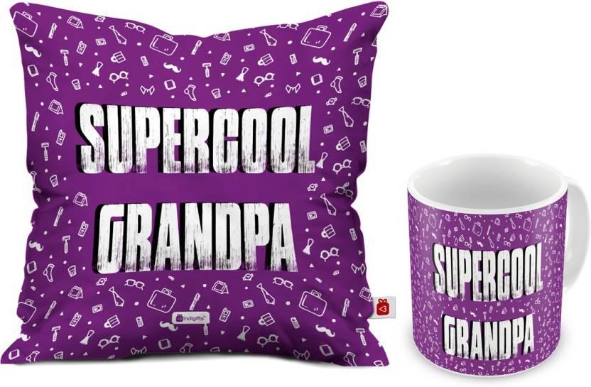 Indigifts Gift For Grandfather Granddad Dada Nana Birthday Grandparents Anniversary Supercool Grandpa Quote D CM001 GDF17012 Cushion Mug Set